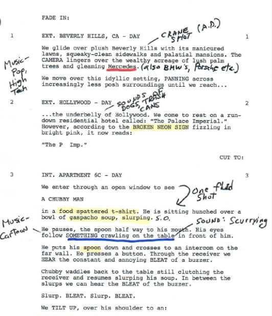 El director de una película también usa escaletas de guion para desarmar el contenido y así poder entender la historia