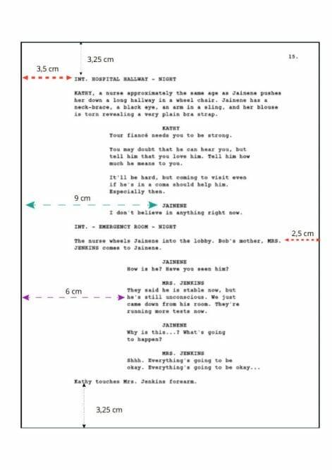 ejemplo de formato de guion cinematográfico